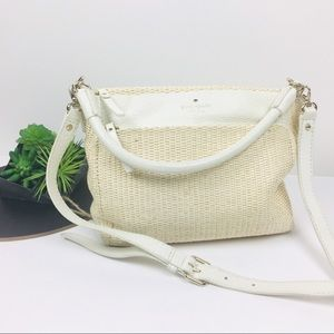 Straw White Leather Kate Spade Convertible Bag Med